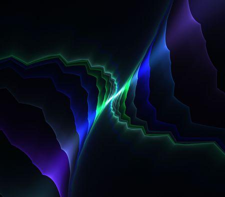 深い青の層はエネルギー効果 - フラクタル抽象的な背景を接続すると