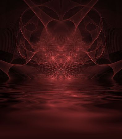 fibrous: Fibrous heart illusion with reflective liquid - fractal abstract background