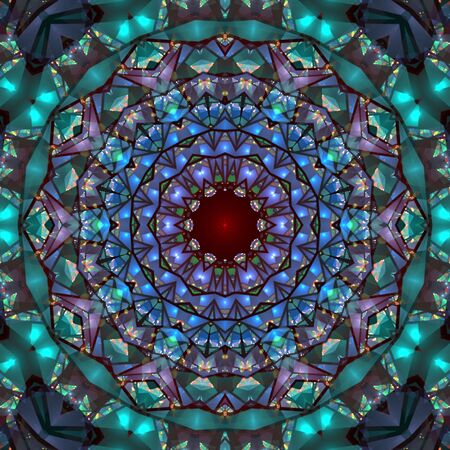 Colorful stained glass impression, seamless tile kaleidoscopic design - digital abstract background 免版税图像