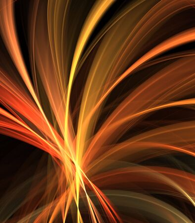 Fanning ribbons of smooth orange textures - fractal abstract background