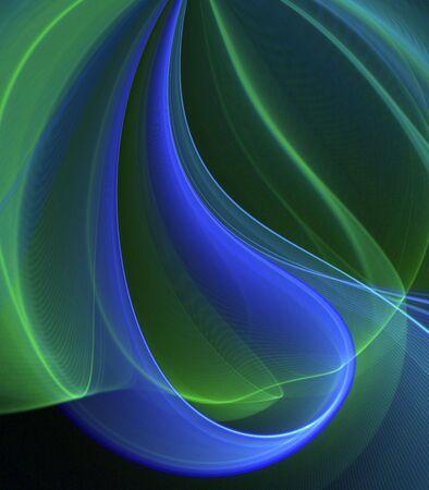 流れる青と緑のドロップ効果テクスチャ - フラクタル抽象的な背景