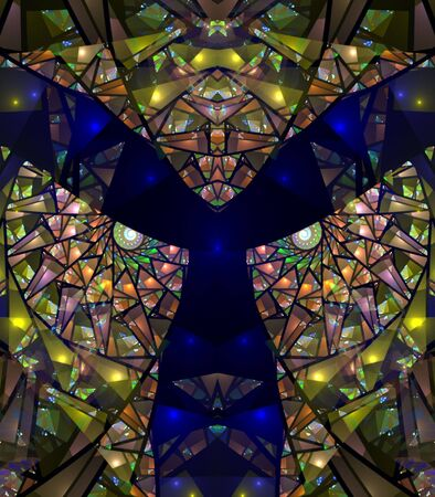 Colorful, blue and yellow stained glass impression - fractal abstract background