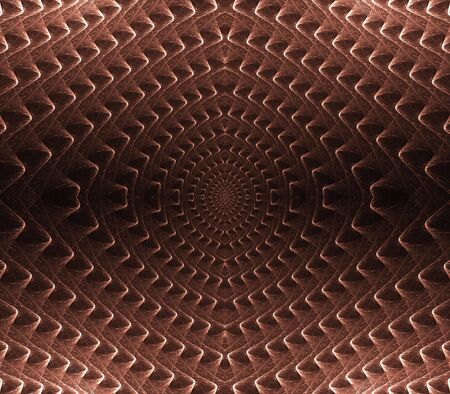 ridges: Curving ridges texture, reddish brown design, in symmetrical pattern - fractal abstract background Stock Photo