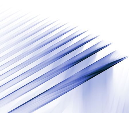 Futuristic, slanting ribbons of blue with copy space - fractal abstract background