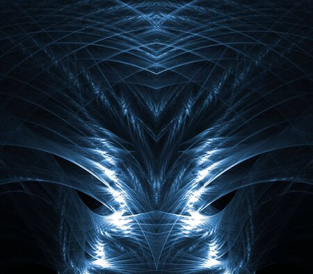impression: Layered blue textures with shiny, metallic impression- fractal abstract background