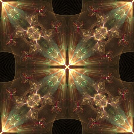 Kaleidoscopic cross effect with rays of light, seamless tile - fractal abstract background photo