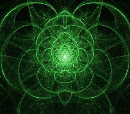 Stroomt, linten Oplichtende groen in symmetrische effect - fractale abstracte achtergrond curling