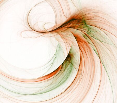 fibrous: Brown and green, flowing fibrous fabric into curved design with copy space- fractal abstract background Stock Photo