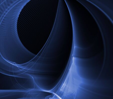 fibrous: Fibrous blues in layered flow - fractal abstract background Stock Photo
