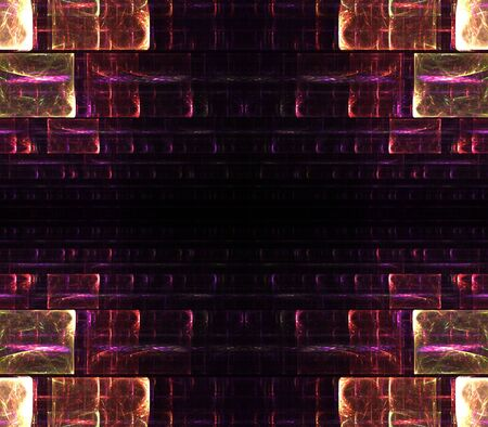 Geometric, rectangular jewel tone brick design in corner pattern border with copy space - fractal abstract background