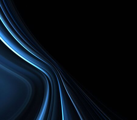 dark fiber: Blue, soft silk texture layers in gentle arch with copy space - fractal abstract background