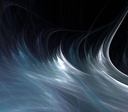 fibrous: Blue gray flowing fibrous silk textures with copy space - fractal abstract background Stock Photo