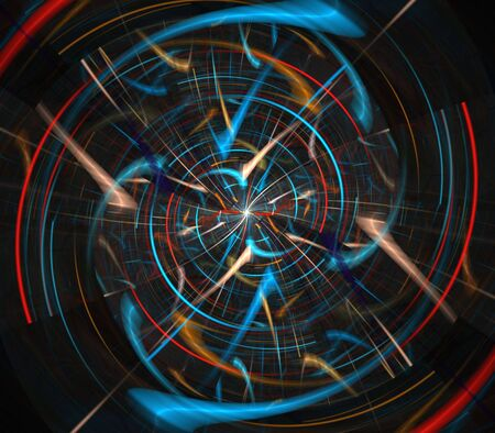 spinning: Spinning colorful fibers in futuristic effect- fractal abstract background