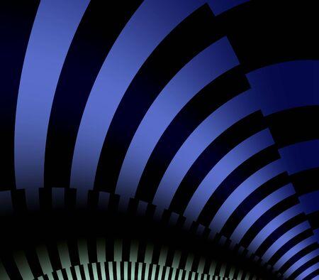 功妙な抽象的な背景 - 黒背景にブルーのストライプ フラクタル デザイン 写真素材
