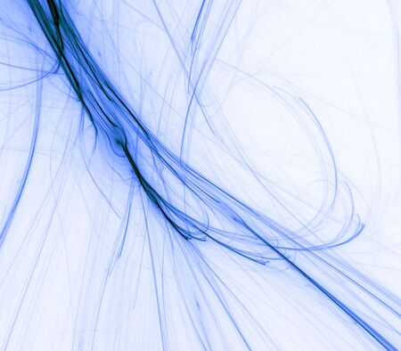 frayed: Branching, frayed flowing blue fiber textures  - fractal abstract background