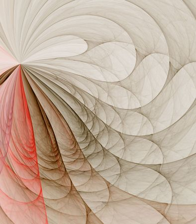 details: Soft colors in looping, fanning design against white backdrop - fractal abstract background Stock Photo