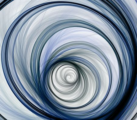 threaded: Artistic Abstract Background -  Threaded, circular layered spiral design against white backdrop