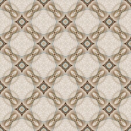 Abstract Background -  Brown and cream colors in intricate, woven star pattern, seamless tiling design  photo