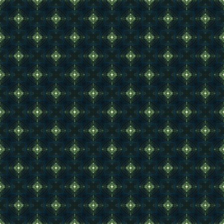 Abstract Background -  Tiled design of blue squares and jade green, softly glowing diamond shapes against black, seamless photo