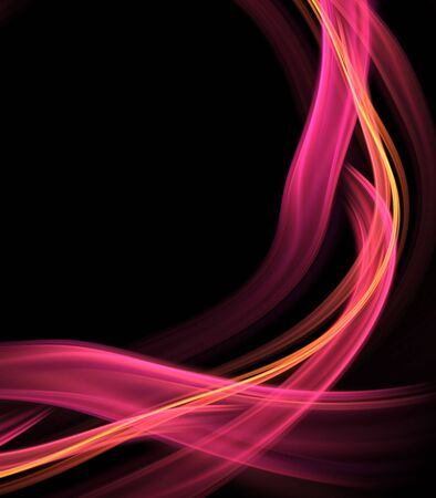pink ribbons: Abstract Background - Brightly pink colored, smooth ribbon flows and tangles against black with copy space