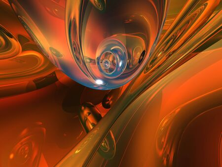 deep orange: Abstract Background - 3d design, flowing, smooth glass effect shapes in deep orange colors. Stock Photo