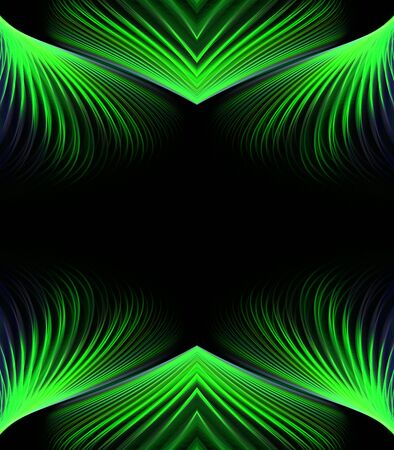 against abstract: Abstract Background - Flowing, angular streaks and points border accent in green, against black with copy space