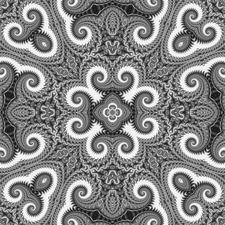 seamless tile: Background Overlay - Seamless tiling, intricate, black and white spiraling overlay, perfect for designers! Stock Photo