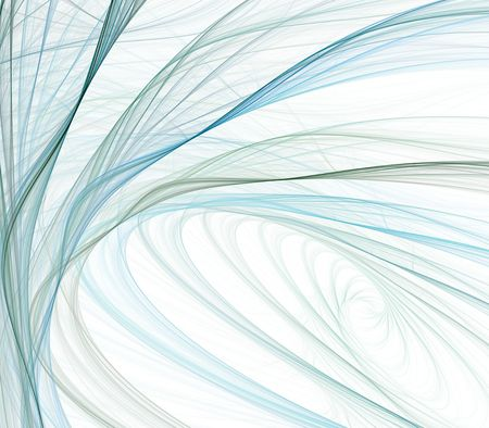 tangling: Abstract Background - Flowing, tangling and spiraling ribbon and thread textures in hues of blue against white