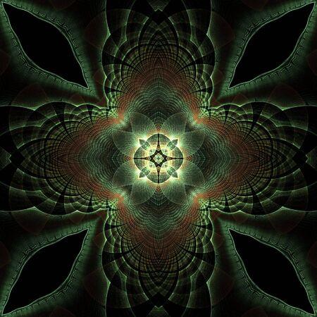 kaleidoscopic: Abstract Background - Softly glowing green kaleidoscopic textures, seamless tile design.