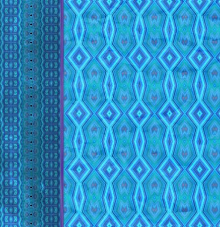 side border: Abstract Layout or Wallpaper design in bright blue, with crinkled diamond pattern, and aged side border. Paper grain textured.