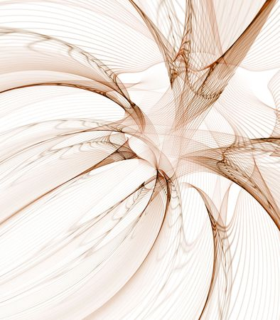 sheer: Abstract Background - Flowing brown mesh fibers, curving against white. Stock Photo