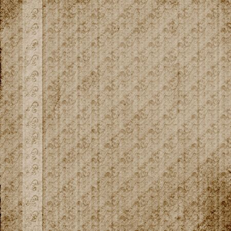 vellum: Abstract Layout or Wallpaper design - Heavily distressed antique brown pattern with paper grain. Vellum ribbon border with punched pattern.