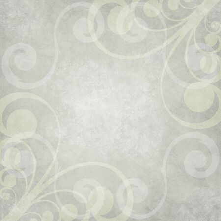 on gray: Abstract Paper - Light greenish gray with blended swirl shapes in border effect, distressed with grain texture.