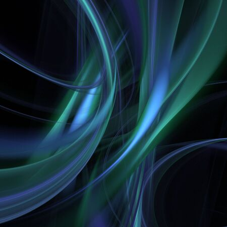 Abstract Background - Flowing, tangling layers of blue and green fiber textures against black backdrop.