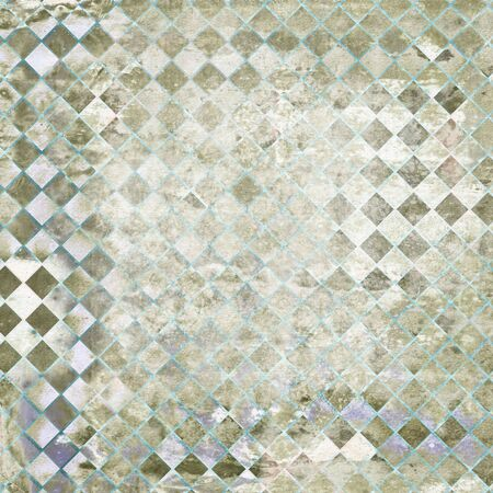 Abstract Background - Heavily distressed diamond checker pattern in light green and gray, with paper grain texture.