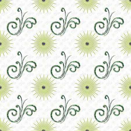 pointy: Pointy Stars and metallic curly accents colored in green. Repeating, seamless tile background design.