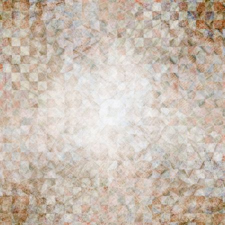 checker: Abstract Background - Heavily distressed checker pattern collage in antique browns with paper grain texture. Stock Photo