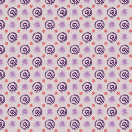 lightly: Purple swirls and red polka dots lightly distressed.  Repeating pattern background with paper grain texture. Stock Photo