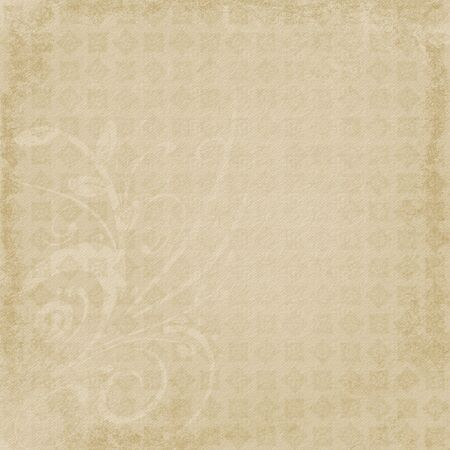 Repeating pattern with faint swirly corner overlay embellishment.  Faded brown, softly distressed background with paper grain texture. Stock Photo