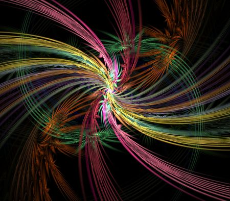 feathery: Colorful, layered feathery textures against black.  Fractal abstract background.