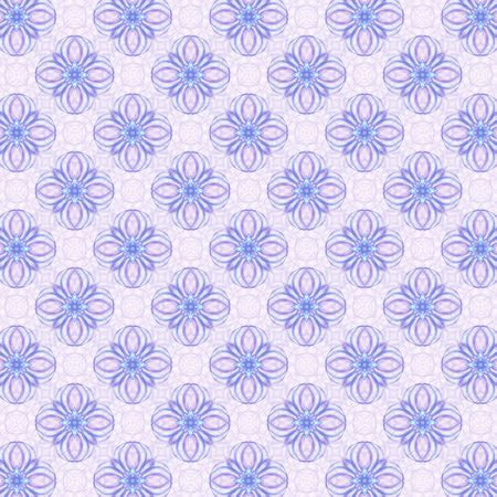 Loopy star or cross repeating pattern, colored in blue and lavender.  Abstract background design with paper grain. photo