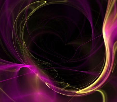 smudge: Magenta textures curling in a soft glow against black.  Fractal abstract background design with copy space. Stock Photo