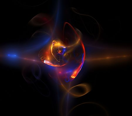 smudge: Colorful, glowing textures against black.  Fractal abstract background design. Stock Photo