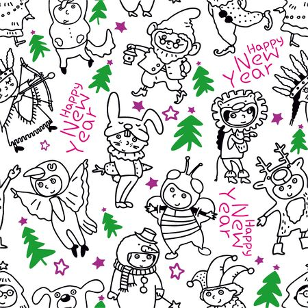 New Year seamless pattern. Children in Christmas costumes. Cheerful children celebrate Christmas and winter holidays. Cartoon New Years holiday costume. Vector illustration Illustration