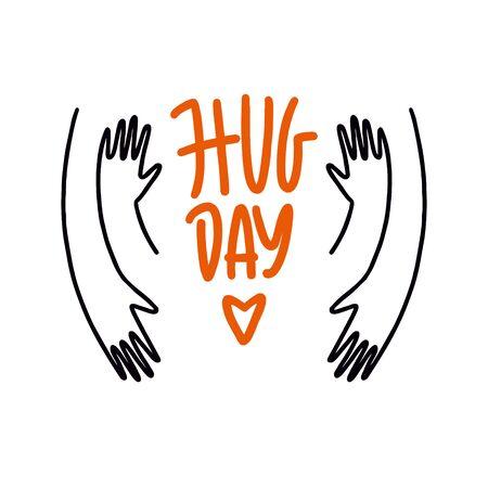 Happy Hug Day. Vector illustration of a Banner for International Hug Day.