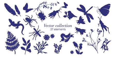 Set of silhouettes of botanical elements. Branches with leaves, herbs, wild plants, trees. Garden and forest collection of leaves and grass. Vector illustration on white background - Vector Graphics Ilustrace