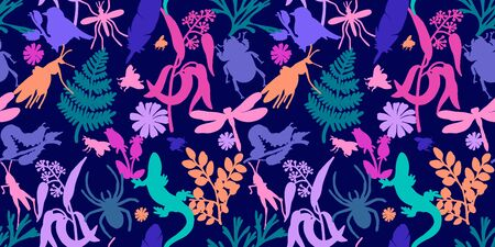 Summer vector seamless pattern. Blue background. Plants, insects, flowers. Lizards, dragonflies, beetles and plants. Textile, wallpaper, paper Ilustrace