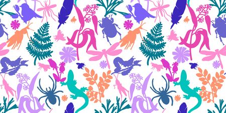 Summer vector seamless pattern. White background. Plants, insects, flowers. Lizards, dragonflies, beetles and plants. Textile, wallpaper, paper