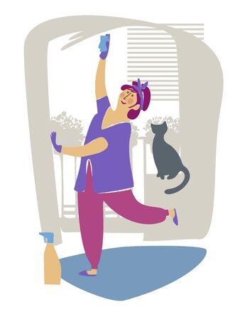 House cleaning. Cleanliness and accuracy. A woman washes the window. Spring mood. The cat is sitting next to her on the windowsill. Flat style. Color image. Vector illustration. Stock Illustratie
