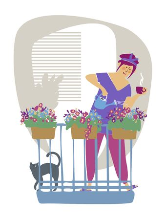 Cheerful happy girl takes care of plants growing in boxes on the balcony. A young pretty woman waters the plants at home with water. A female character enjoys her hobby. Flat cartoon colorful vector illustration. Ilustração